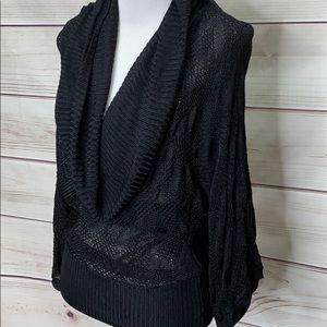 White House Black Market Black Viscose Knit Drape